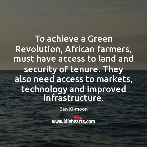 To achieve a Green Revolution, African farmers, must have access to land Image