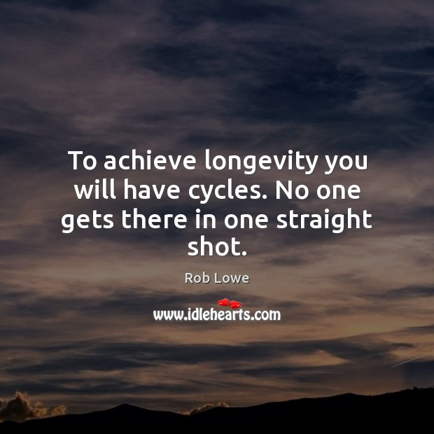 To achieve longevity you will have cycles. No one gets there in one straight shot. Image