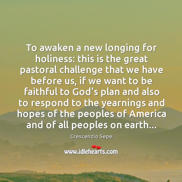 To awaken a new longing for holiness: this is the great pastoral Image