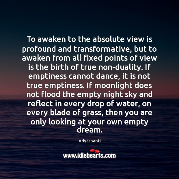 Image, To awaken to the absolute view is profound and transformative, but to