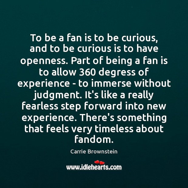 Image, To be a fan is to be curious, and to be curious