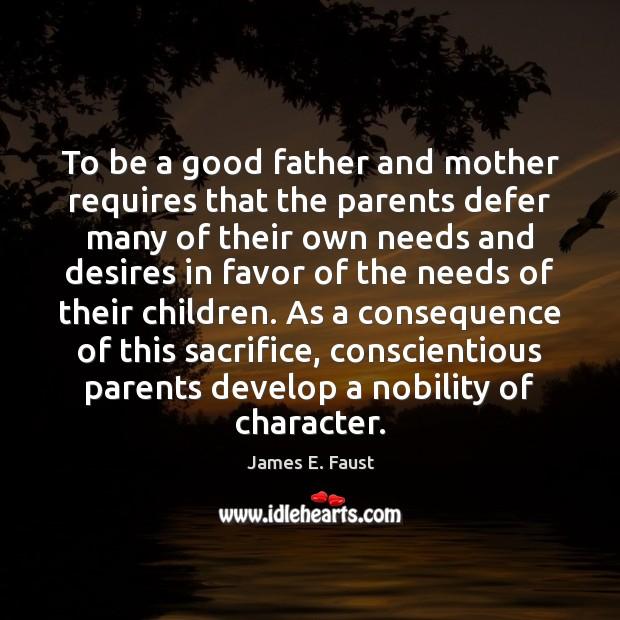 Image, To be a good father and mother requires that the parents defer