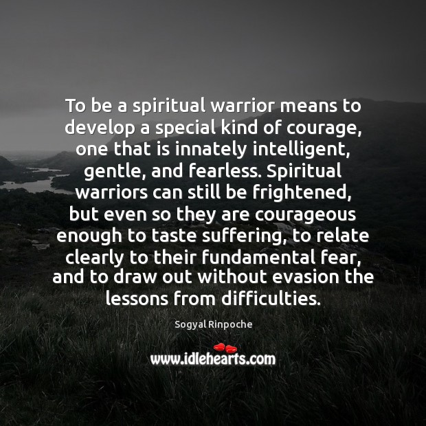 To be a spiritual warrior means to develop a special kind of Sogyal Rinpoche Picture Quote