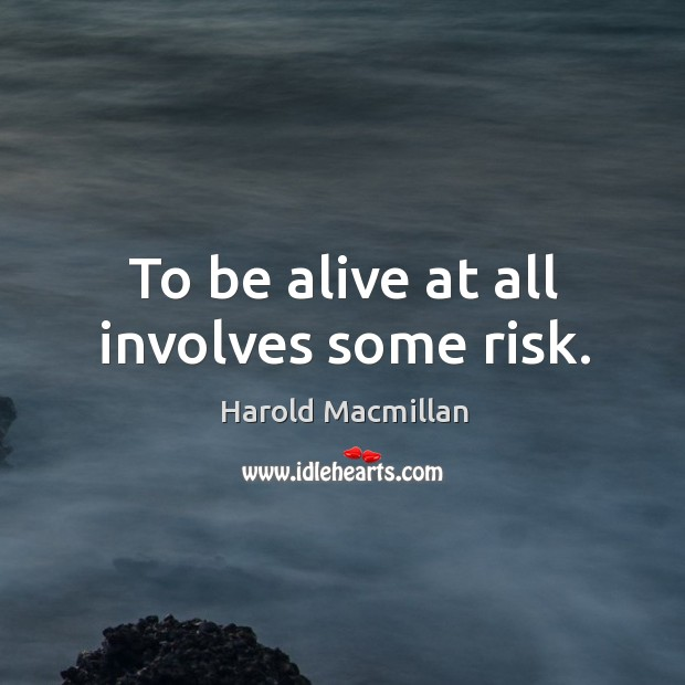 To be alive at all involves some risk. Image