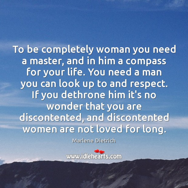 Image, To be completely woman you need a master, and in him a