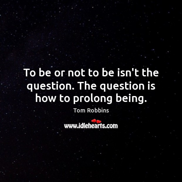 Image, To be or not to be isn't the question. The question is how to prolong being.