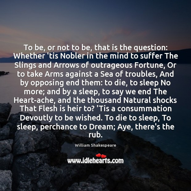 To be, or not to be, that is the question: Whether 'tis Dream Quotes Image
