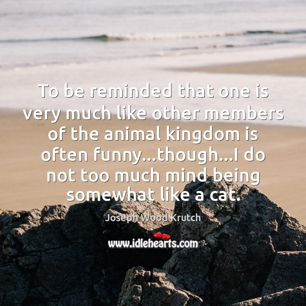 To be reminded that one is very much like other members of Joseph Wood Krutch Picture Quote