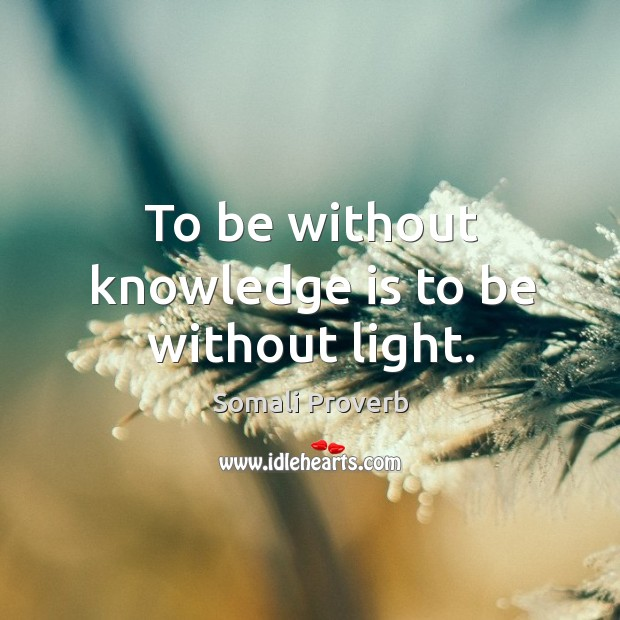 To be without knowledge is to be without light. Somali Proverbs Image