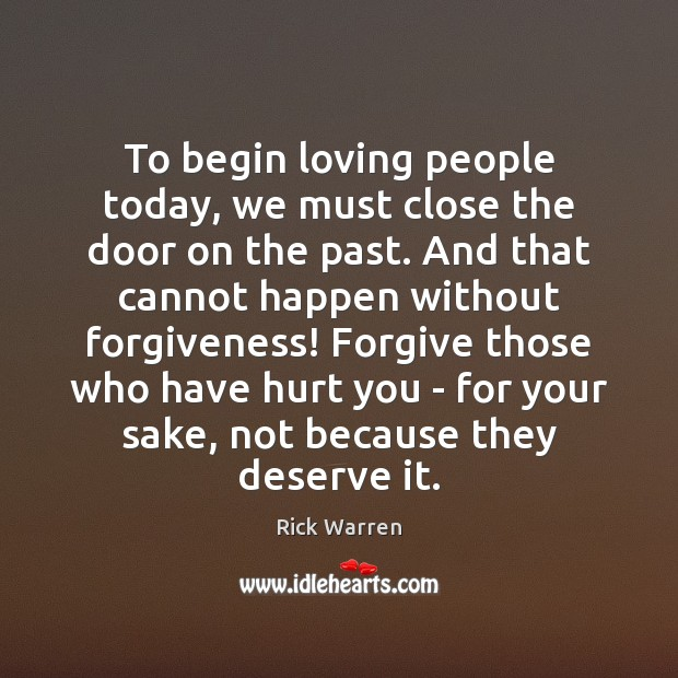 To begin loving people today, we must close the door on the Image