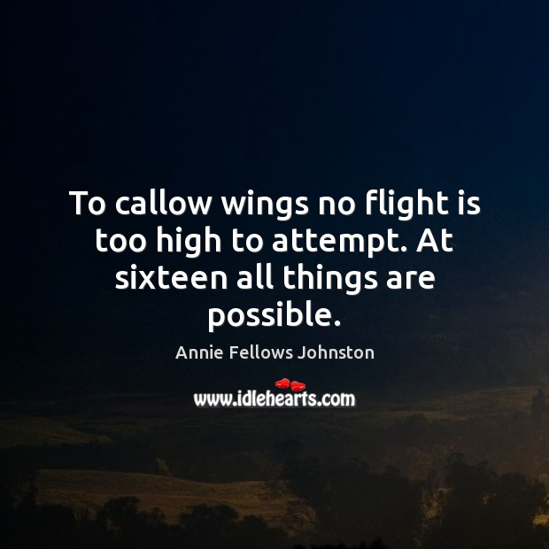 Image, To callow wings no flight is too high to attempt. At sixteen all things are possible.