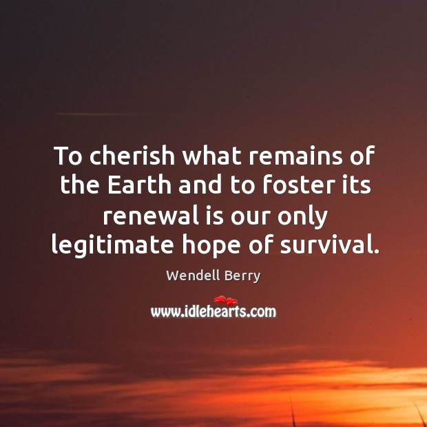 To cherish what remains of the earth and to foster its renewal is our only legitimate hope of survival. Image