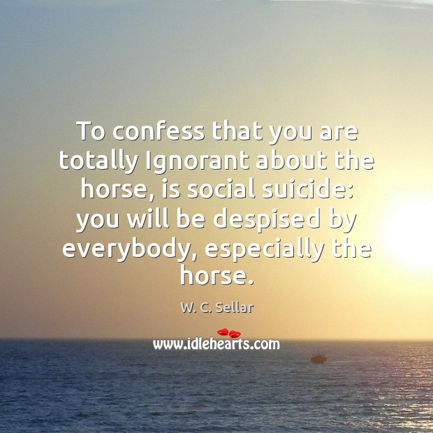 To confess that you are totally Ignorant about the horse, is social Image