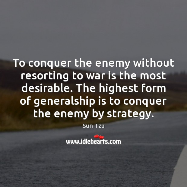 To conquer the enemy without resorting to war is the most desirable. Image