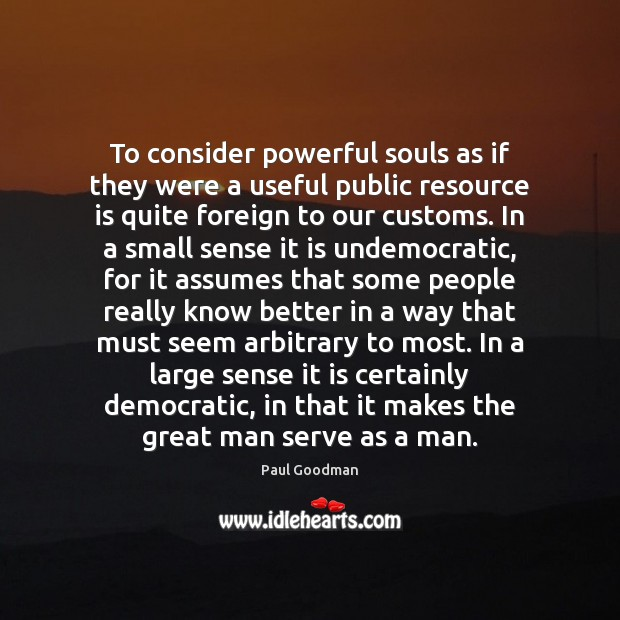 To consider powerful souls as if they were a useful public resource Paul Goodman Picture Quote