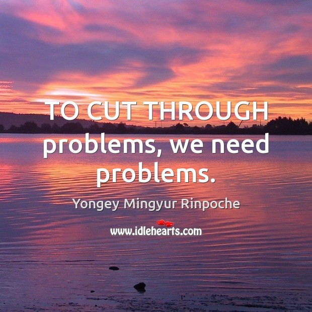 TO CUT THROUGH problems, we need problems. Yongey Mingyur Rinpoche Picture Quote