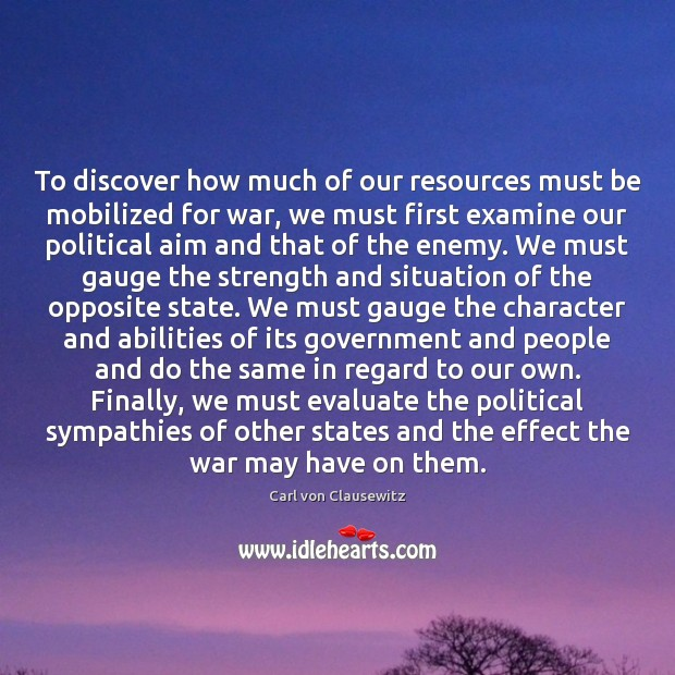 To discover how much of our resources must be mobilized for war, Image