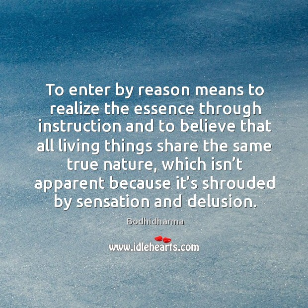 To enter by reason means to realize the essence through instruction and to believe that Image