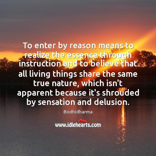 To enter by reason means to realize the essence through instruction and Bodhidharma Picture Quote