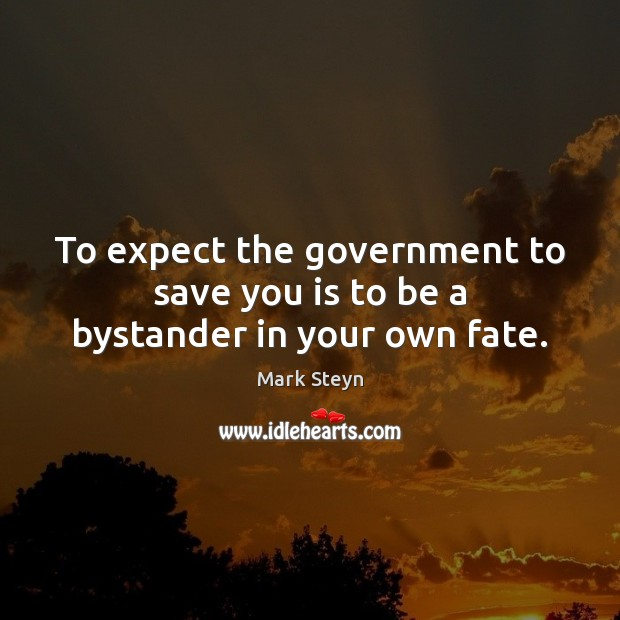 To expect the government to save you is to be a bystander in your own fate. Mark Steyn Picture Quote