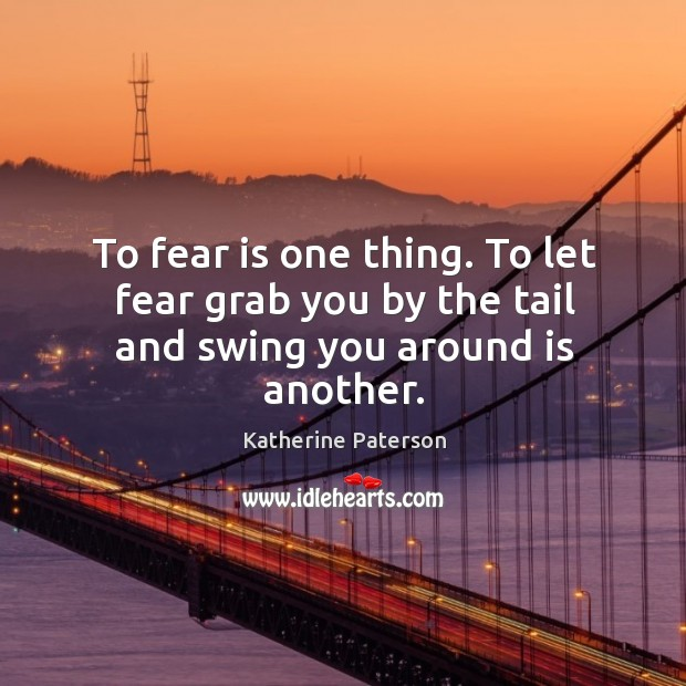 To fear is one thing. To let fear grab you by the tail and swing you around is another. Image
