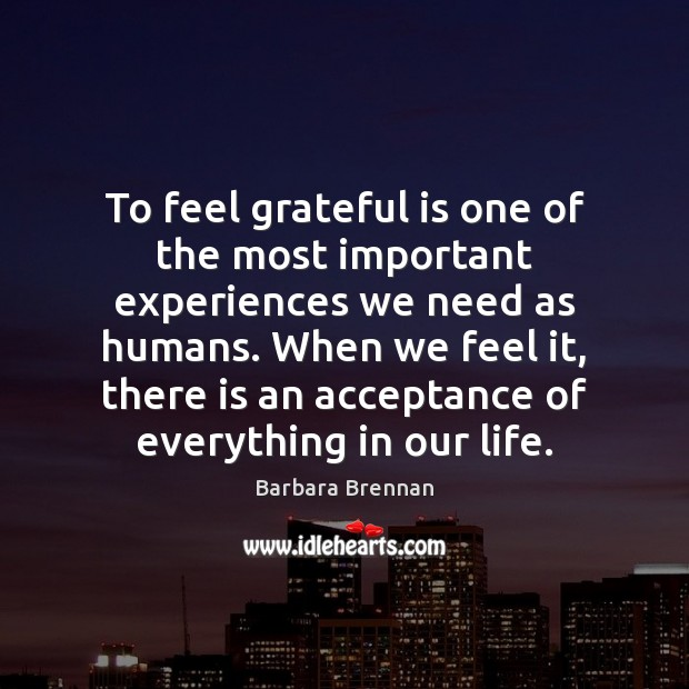 Image, To feel grateful is one of the most important experiences we need