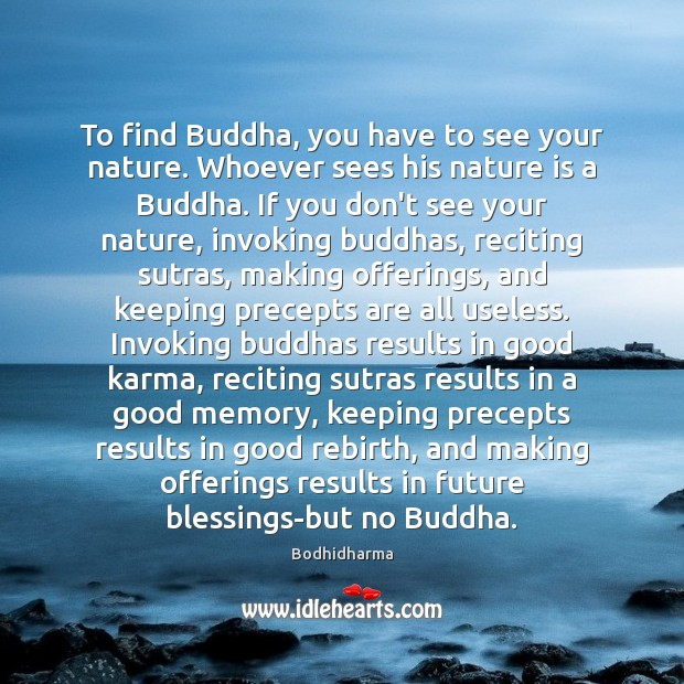 To find Buddha, you have to see your nature. Whoever sees his Bodhidharma Picture Quote