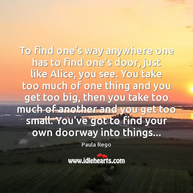 To find one's way anywhere one has to find one's door, just Image
