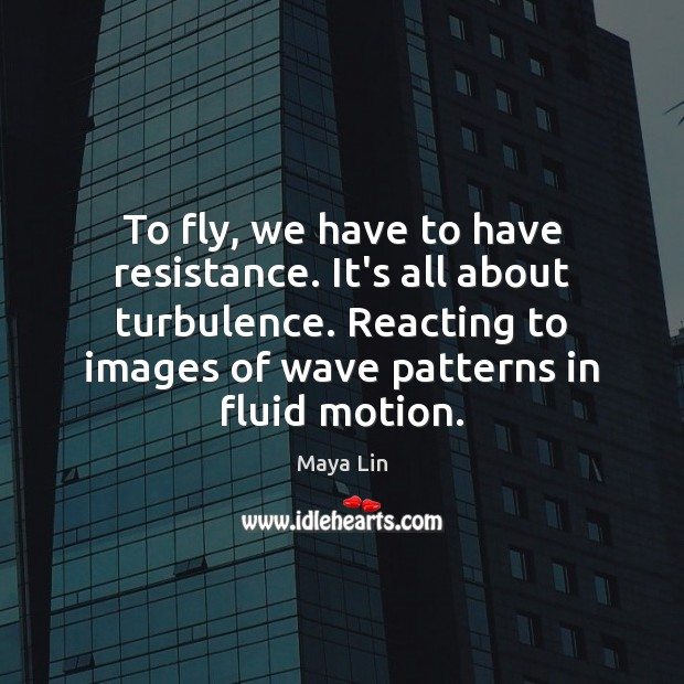 To fly, we have to have resistance. It's all about turbulence. Reacting Maya Lin Picture Quote