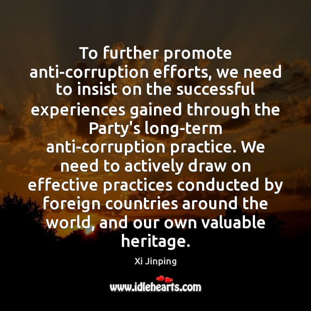 Image, To further promote anti-corruption efforts, we need to insist on the successful