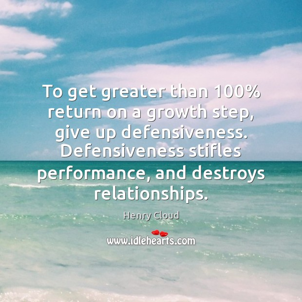 Image, To get greater than 100% return on a growth step, give up defensiveness.