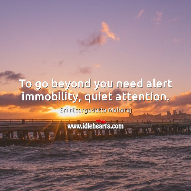 To go beyond you need alert immobility, quiet attention. Sri Nisargadatta Maharaj Picture Quote