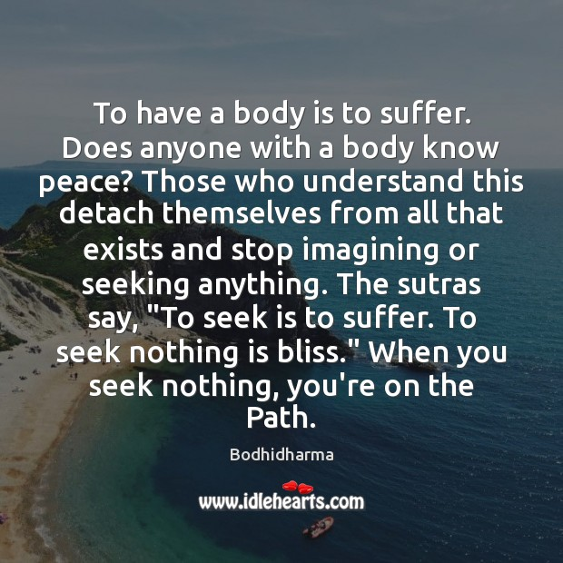 To have a body is to suffer. Does anyone with a body Bodhidharma Picture Quote