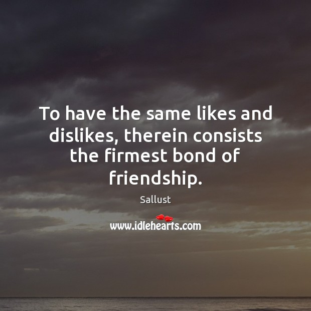 To have the same likes and dislikes, therein consists the firmest bond of friendship. Image