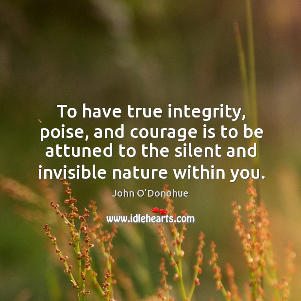 To have true integrity, poise, and courage is to be attuned to Image