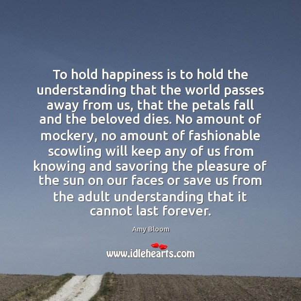 Image, To hold happiness is to hold the understanding that the world passes