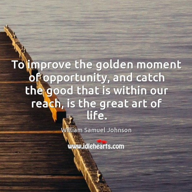 To improve the golden moment of opportunity, and catch the good that is within our reach, is the great art of life. Image