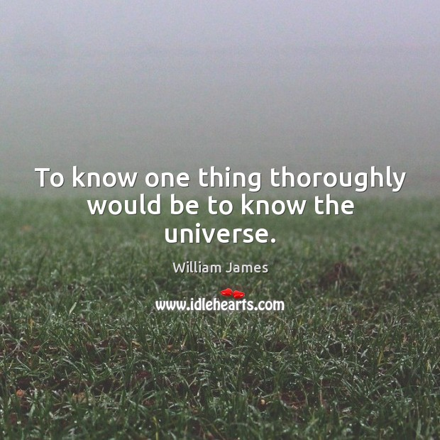 To know one thing thoroughly would be to know the universe. Image