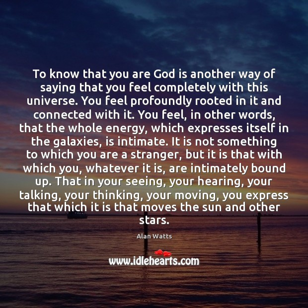 To know that you are God is another way of saying that Image