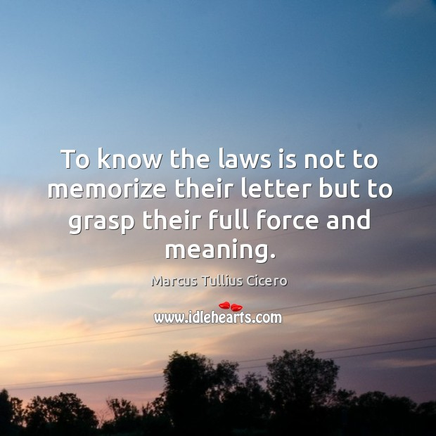 To know the laws is not to memorize their letter but to grasp their full force and meaning. Image