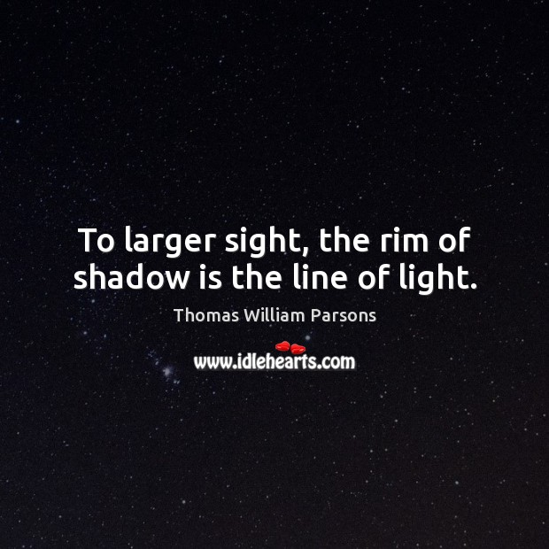 To larger sight, the rim of shadow is the line of light. Image