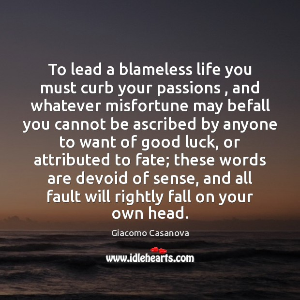 To lead a blameless life you must curb your passions , and whatever Image