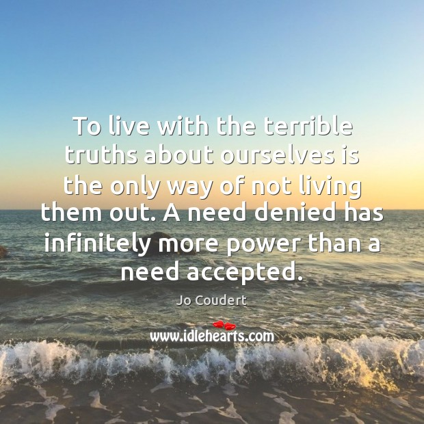 To live with the terrible truths about ourselves is the only way Jo Coudert Picture Quote