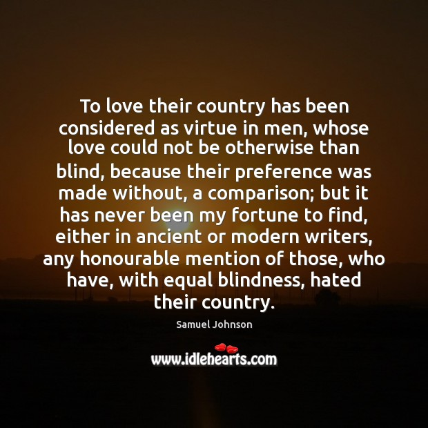 To love their country has been considered as virtue in men, whose Comparison Quotes Image