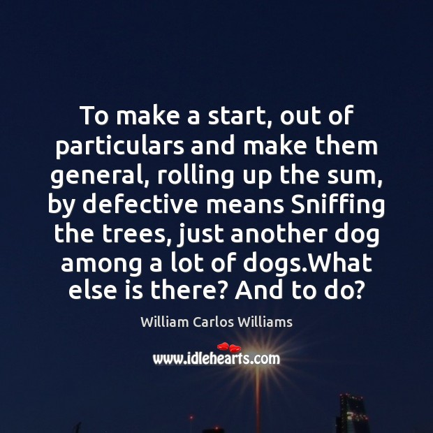 To make a start, out of particulars and make them general, rolling William Carlos Williams Picture Quote