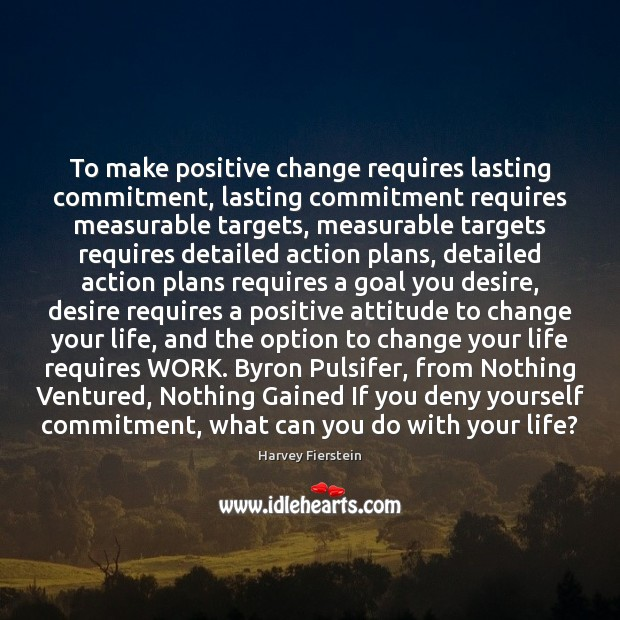 To make positive change requires lasting commitment, lasting commitment requires measurable targets, Positive Attitude Quotes Image