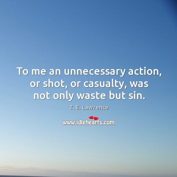 Image, To me an unnecessary action, or shot, or casualty, was not only waste but sin.