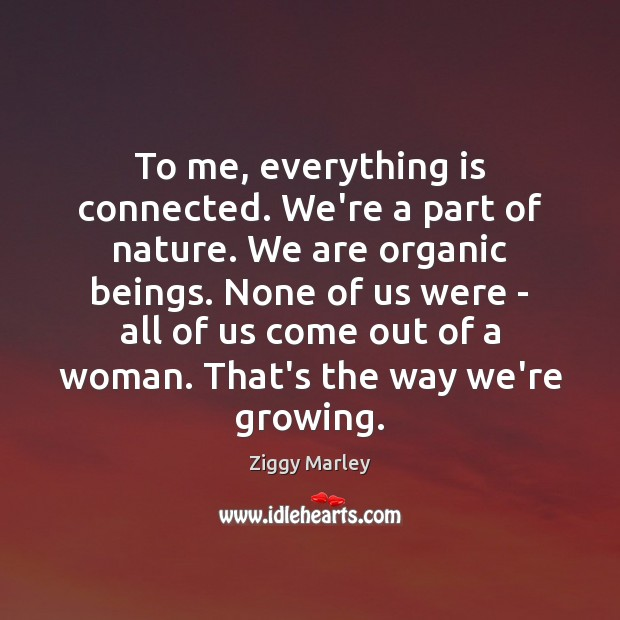 To me, everything is connected. We're a part of nature. We are Ziggy Marley Picture Quote