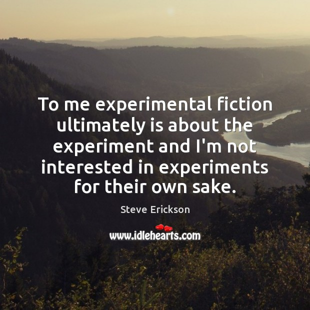 To me experimental fiction ultimately is about the experiment and I'm not Image