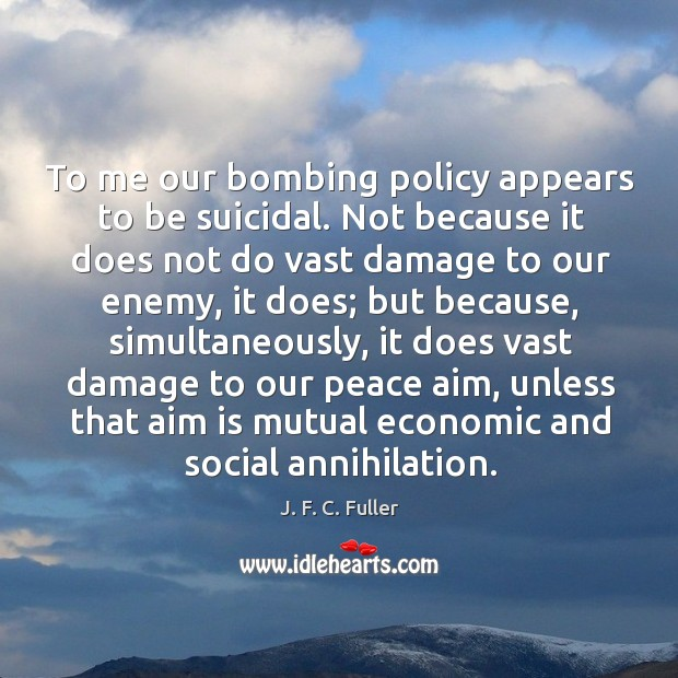 To me our bombing policy appears to be suicidal. Not because it does not do vast damage to our enemy J. F. C. Fuller Picture Quote